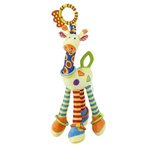 Juguete de jirafa suave, peluche de animal Crib, Pram para colgar juguetes con mordedor para bebés bebé Clip en Pram Juguete educativo colorful Talla:37x12cm
