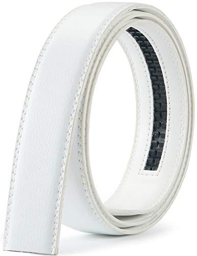 Wetoper hombres moda lujo cuero cintura cinta automática cintura correa sin Hebilla, 3,5 cm de ancho (Color 8, 130cm/34-44' cintura ajustable)