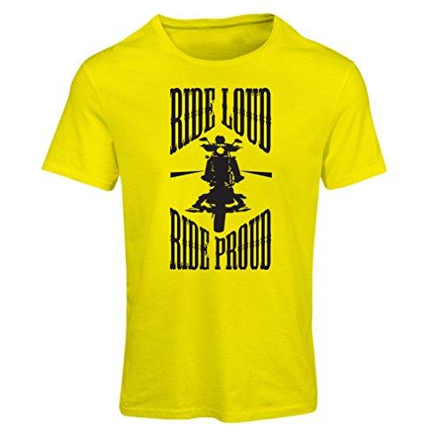 lepni.me Maglietta Donna Ride Loud! (Medium Giallo Multicolore)