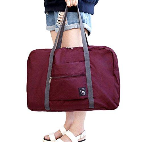 FunYoung Superleichtes Tragbares Handgepäck Faltbare Reisetasche aus Polyester Farbwahl (Weinrot) (Polyester-handgepäck)