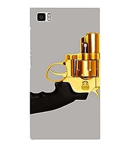 PrintVisa Golden Revolver Gun 3D Hard Polycarbonate Designer Back Case Cover for Xiaomi Redmi Mi3
