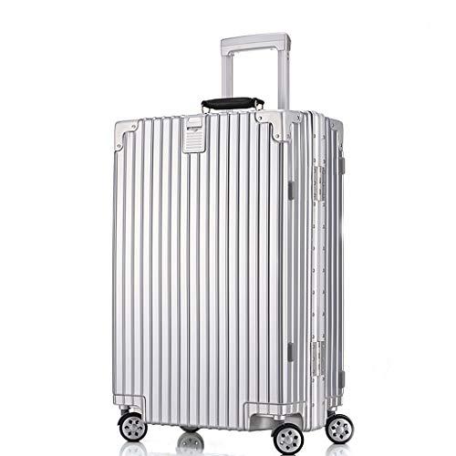 OTLLE Kratzfester Aluminium-Rahmen-Trolley Universal-Radkoffer tragen Gepäck Check Box für Männer und Frauen (Farbe : Silber, größe : 22inches)