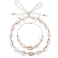 Valyria Cowrie Shell Choker Necklace Seashell Strand Bracelets Summer Hawaiian Jewelry Set for Women
