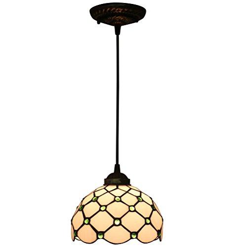 FABAKIRA Retro Tiffany Lampe 8 Zoll Kronleuchte Hängelampe Fein Glas Dekorative Lampenschirm Pendelleuchte -