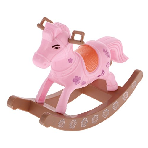 Segolike Miniature Rocking Horse Bedroom Furniture for Barbie Doll Nursery Room Decor  available at amazon for Rs.200