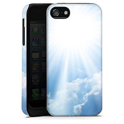 Apple iPhone 4 Housse Étui Silicone Coque Protection Nuages Rayons de soleil Ciel Cas Tough terne