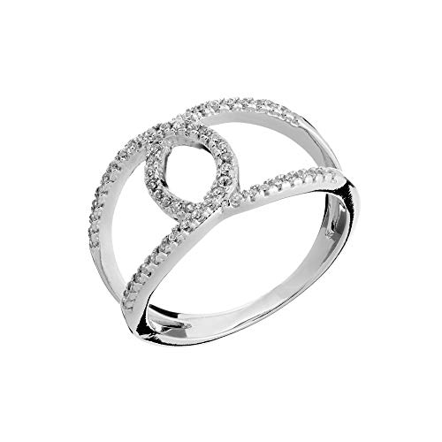 Silverly Frauen .925 Sterling Silber Vintage Stil Zirkonia Umarmung Ring