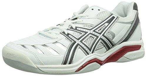 Asics GEL-CHALLENGER 9 INDOOR, Herren Tennisschuhe, Weiß (WHITE/CHARCOAL/RED 0174), 41.5 EU (7 Herren UK)