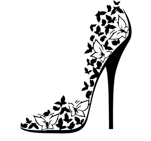 13.6CM * 16.2CM Decalcomania in vinile Sexy Scarpe con tacco alto Farfalle a stiletto Adesivi per auto nero/argento 5PCS