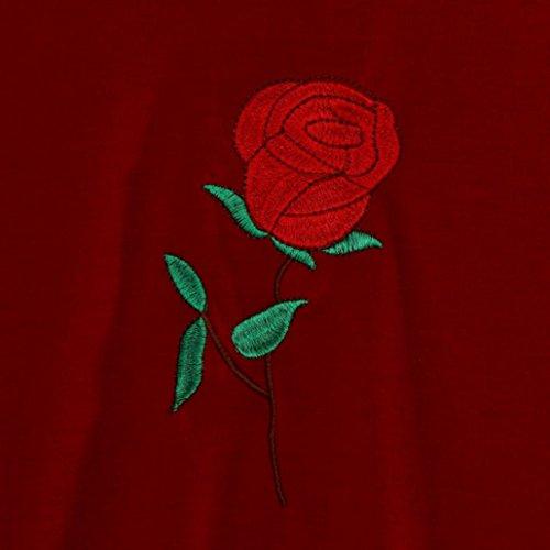 Bekleidung Longra Damen Sommer Kurzarm T-Shirts mit Rose Stickerei O-Ausschnit Oberteil Tops Bluse Kurzarm t-shirt Red