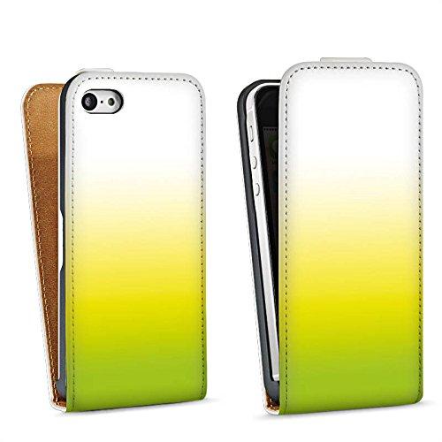 Apple iPhone 5s Housse étui coque protection Vert Jaune Blanc Sac Downflip blanc