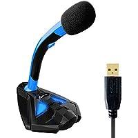 KLIM Voice Desktop USB Mikrofonstand für Laptop Computer - Gaming Mic - Mikrofon PC PS4 Blau 2019 Version