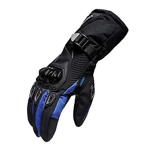Q_STZP Guanti da Ciclismo Guanti da Moto Invernali Impermeabili Caldi per Motociclisti Quattro Stagioni Ispessimento Fuoristrada Lungo Autunno, Blu, XL