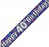 Happy 40th Birthday Purple Holographic Banner 2.7m Long