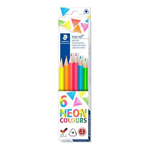 Staedtler Buntstifte ergosoft (erhöhte Bruchfestigkeit, ergonomische Dreikantform, rutschfeste Soft-Oberfläche, Set mit 6 brillanten Neon-Farben, Kartonetui, 157 C6P1 ST)