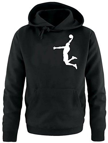 DUNK Basketball Slam Dunkin Erwachsenen Sweatshirt mit Kapuze HOODIE schwarz-weiss, Gr.XL