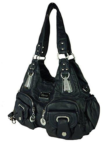 KUMIXI 7114 geräumige Damen Handtasche, Tasche 'LENI', versch. Farben 35x25x12 blue blau