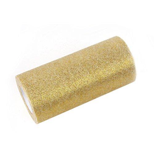 rosenice Band Rolle Glitter-Tüll Rollen 15,2cm Sparkling Tüll 25Yards Tüll Spule Gold -