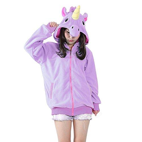 Einhorn Tier Hoodie Jacke Pullover Party Kostüm (S, Lila einhorn) (Kostüm Pullover)