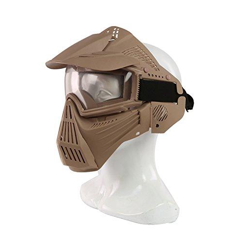 Airsoft-Maske, Maske für das ganze Gesicht, Mesh-Maske, Schutzmaske, Militärschutzmaske, ideal für Paintball / Halloween-Kostüm, von HaoYK, hautfarben