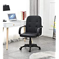 TONVISION PU Small Swivel Desk Chairs 2 Style Grey/Black