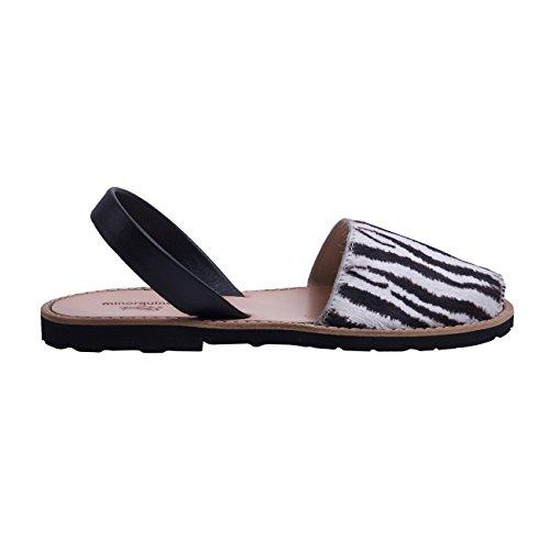 Minorquines-Sandali Avarca pelle fantasia zebrata, da donna, Multicolore (Nero e Bianco), 41