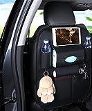 ZXFSD Luxus - Auto Platz Tasche Klapptisch Klammer Tablett Flasche Rack Multifunktions - Beschützer Tasche Tritt Fuß Pad Reisezubehör Pu - Leder,Schwarz