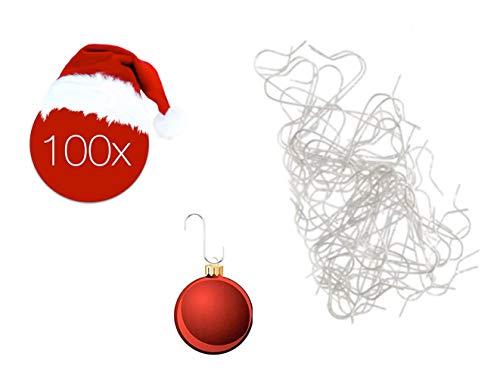 100x Haken Baumhaken silber Schnellaufhänger Aufhänger Haken Kugelaufhänger für Christbaumkugel, Weihnachtskugeln, Anhänger, Aufhänger in S Form für Weihnachten & Weihnachtsschmuck (100x Stück Silber)