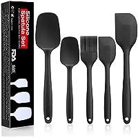 CRMICL Espátulas de Silicona, WisFox 5 Juegos Utensilios de Cocina Silicona Resistentes al Calor, Herramientas antiadherentes para Hornear Utensilios de, Conjuntos de Utensilios - Negro