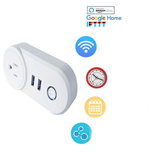 IKVRU Smart Power Strip, Smart WiFi Plug Dual Outlet Wi-Fi 2 USB Phone App Controlled Socket 2 in 1 Timing Networked Remote Control1 Pack, (US-Vorschriften)