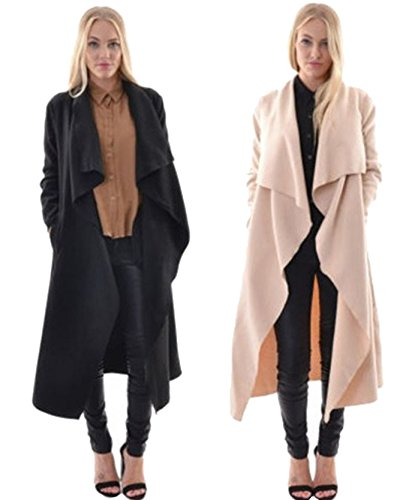 IHRKleid® DamesLong Cardigan Casual Bras Long Pull de Plein air Automne Noir