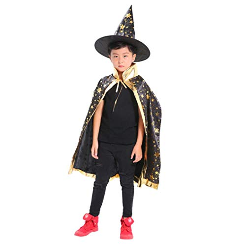 (Hexen Kostüm Umhang Kinder Erwachsene Kinder Halloween Zauberer Hexe Mantel Cape Robe + Hat Set (Schwarz))