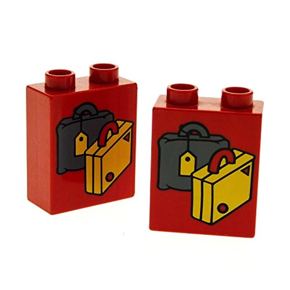 1x Lego Duplo Motivstein gelb 1x2x2 bedruckt Koffer Reise Tasche Bau Stein 4066