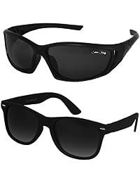 Silver Kartz Black Dark Wayfarer Combo Sunglasses