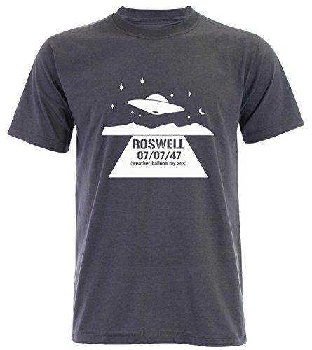 PALLAS Unisex's Alien UFO Roswell Funny T-Shirt Slate Grey
