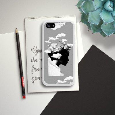 Apple iPhone 5s Housse Étui Protection Coque Silhouette Tête Nuages Housse en silicone blanc