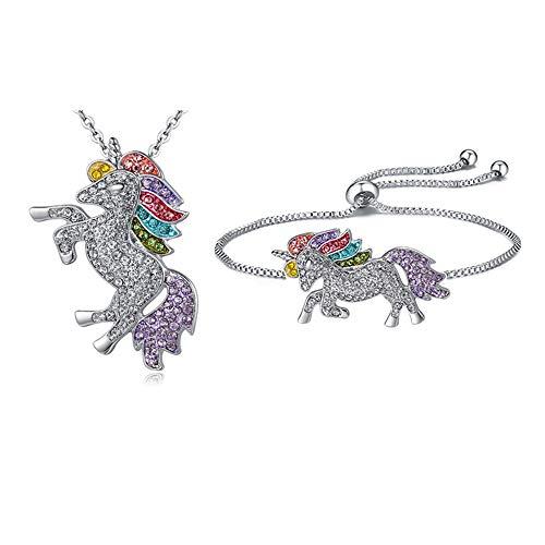 Einhorn Kette Armbänder, Elegante Einhorn Halskette Anhänger Kette Armbänder für Damen Mädchen Anhänger Einhorn in Geschenkbox