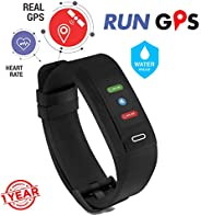 GoQii Run GPS Fitness Tracker with Heart Rate Monitor & 3 Month Personal Coaching  (Bl