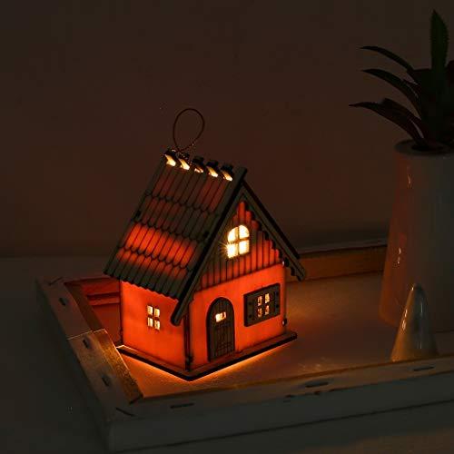 vijTIAN - Piccola Cabina Luminosa in Legno con luci a LED, per Feste, Matrimoni, Decorazioni Natalizie, Decorazione Perfetta per Albero di Natale Fai da T