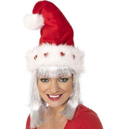 Deluxe Light Up Santa Hat - Erwachsene Weihnachtsmütze - One (Light Santa Hüte Up)
