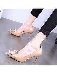 SSBY Ein 9Cm High Heels Mit Schmalen Flachen Sexy Nackt Leder Nieten Stiefel Schuhe