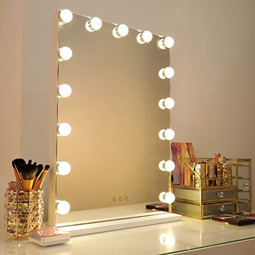 WAYKING Hollywood Speigel Make-up-Spiegel mit LED-Lichtern, Touch-Steuerung, großer Kosmetikspiegel mit Dimmer-LED-Leuchten, Kosmetikspiegel mit Beleuchtung, Schminkspiegel mit 15 Lichter, Weiß -