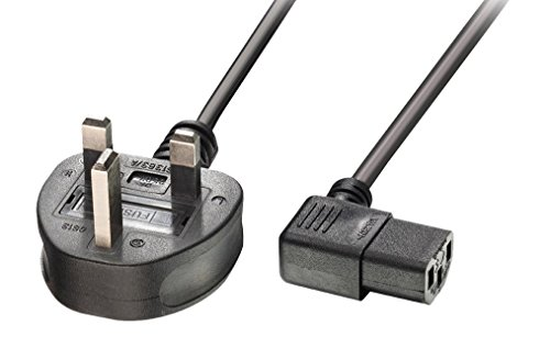 Price comparison product image LINDY 1 m UK 3 Pin Plug to Right Angled IEC C13 Mains Power Cable - Black