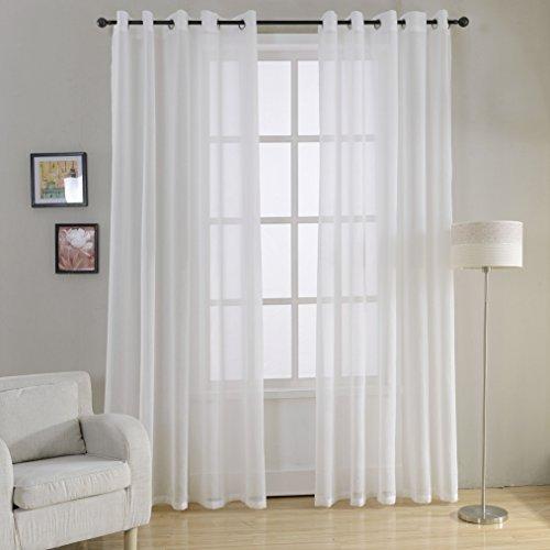 Top finel trasparenti tende per case cameretta occhielli,140x260 cm,2 pezzi,bianca