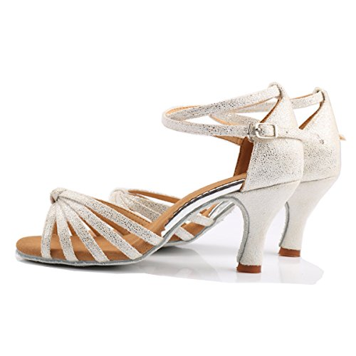 VESI Damen Hoher Absatz Tanzschuhe Standard/Latein Weiß 38(Absatz 5cm) - 4