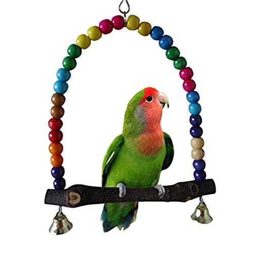 yosoo Spielzeug von Vögeln in Holz, Schaukel Papagei enthält Glocken Holzperlen, elegant Swing Hollywoodschaukel zum Aufhängen Wellensittich bunt 14cmx14.3cm (Ringe Kleine Papagei Spielzeug)