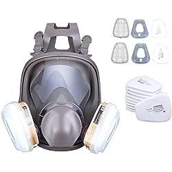 Yonntech Máscara de Gas Respirador Reutilizable 6800 Filtro Reemplazable Antifaz Antipolvo Respiradores Carbón Activado Rostro Completo