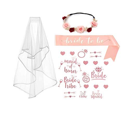 ALEAD Rose Gold Rosa Bachelorette Party Dekorationen Kit - Brautdusche liefert Braut Schärpe, Strass Tiara, Pre-Strung Banner, Schleier + Braut Stamm Flash Tattoos