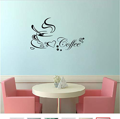 hfwh Wandtattoo Wandaufkleber, Abnehmbare Küche Dekor Kaffee Tasse Herz Haus Aufkleber Vinyl Kunst Wandaufkleber Wandbild