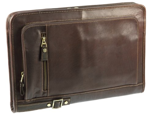 Primehide Leather Zip Round Folio A4 Document Holder Folder Case By Firelog (Brown)